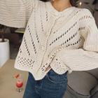 Chunky Pointelle-knit Cardigan