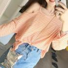 Long-sleeve Cold-shoulder Striped T-shirt