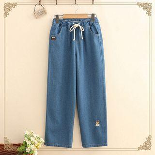 Corgi Embroidered Straight-cut Jeans