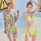 Set: Bikini + Patterned Beach Cover