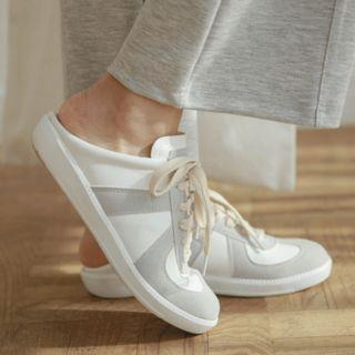 Open-back Contrast-trim Slide Sneakers