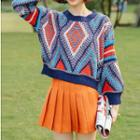 Print Sweater As Shown In Figure - One Size