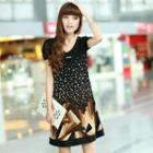 Puff-sleeve Patterned Dress