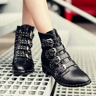 Buckled Low Heel Ankle Boots