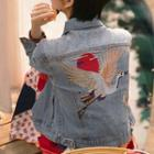 Crane Embroidered Denim Jacket