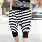 Striped Cropped Harem Pants