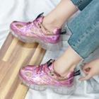 Metallic Sequined Paneled Platform Sneakers