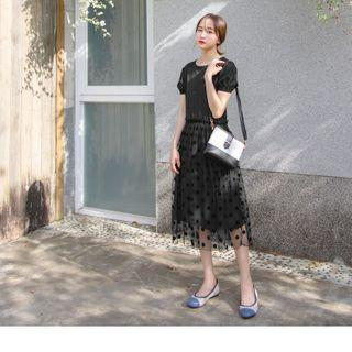 Dotted Mesh Overlay Short-sleeve Midi Dress