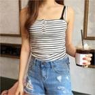 Button-front Stripe Camisole Top