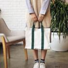 Contrast-trim Canvas Shoulder Bag
