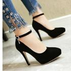 Faux Suede Pointed Toe Ankle Strap Pumps