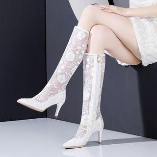 Lace Kitten-heel Tall Boots