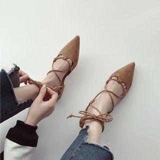 Faux-suede Lace-up Flat Sandals