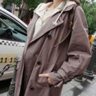 Double-breasted Trench Coat With Belt Dark Brown - One Size