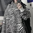 Zebra Print Hooded Pullover