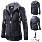 Mock Two-piece Faux Leather Zip Jacket