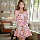 Long-sleeve Bow-accent Floral A-line Dress