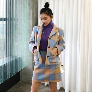 Set: Plaid Button Coat + Mini Straight-fit Skirt