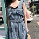 Denim Button Midi Pinafore Dress