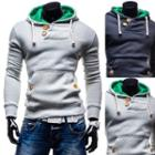 Buttoned Drawstring Hooded Pullover