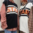 Lettering Crew-neck Sweater Vest