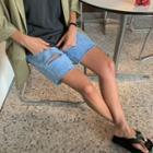 Slashed Bermuda Denim Shorts
