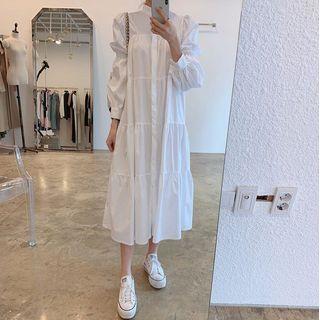 Stand-collar Long-sleeve Midi A-line Dress