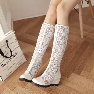 Lace Inset Hidden Wedge Tall Boots