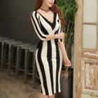 3/4-sleeve Striped Sheath Dress