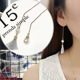 Faux Pearl Tasseled Drop Earrings