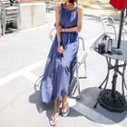 Sleeveless Chiffon-detail Long Dress