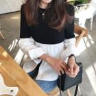 Panel Round Neck Long-sleeve Knit Top