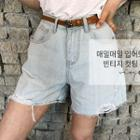 Distressed Wide-leg Denim Shorts