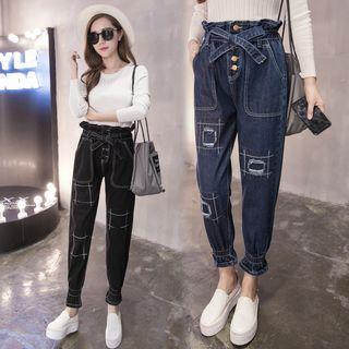 High-waist Frilled Distressed Slim-fit Jeans