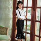 Embroidered Ruffle-hem Jumper Skirt