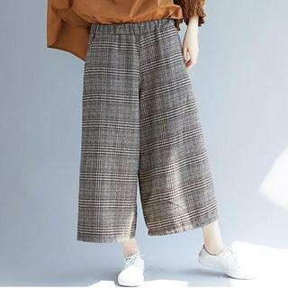 Plaid Cropped Wide Leg Pants Coffee - One Size