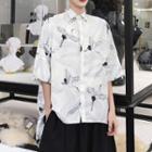 Cranes Print Elbow-sleeve Shirt