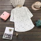 Floral Print Elbow Sleeve Band Collar Shirt