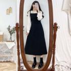 Long-sleeve Plain Blouse / Plain Mini Skirt