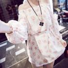 Off-shoulder Floral Print Long-sleeve Minidress