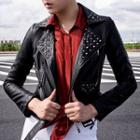 Studded Faux-leather Biker Jacket