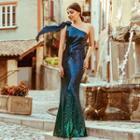 One Shoulder Gradient Evening Gown