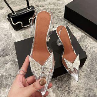 Rhinestone Bow Transparent Spool-heel Pumps