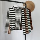 Long-sleeve Two-tone Striped Knit Top