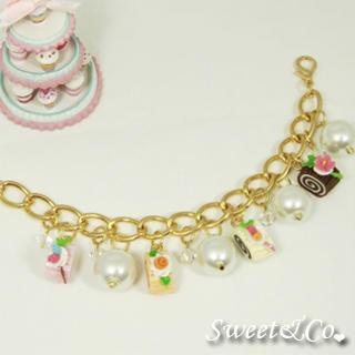 Slice Of Cake Charm & Pearl Crystal Gold Bracelet