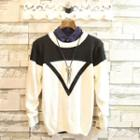 Color-block Long-sleeve Knit Top