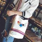Pompom Canvas Crossbody Bag