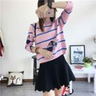 Butterfly Print Striped Sweater