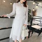 Set: Dotted Long-sleeve A-line Dress + Slipdress