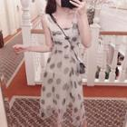 Dotted Sleeveless A-line Mesh Dress